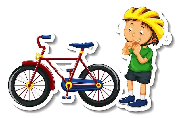 Modelo de adesivo com um menino usando capacete e bicicleta isolado