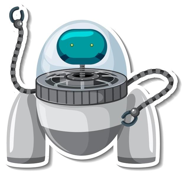 Modelo de adesivo com um monstro alienígena em um robô ovni isolado
