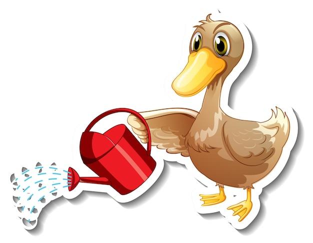 Modelo de adesivo com um pato segurando um regador personagem de desenho animado isolado