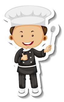 Modelo de adesivo com um personagem de desenho animado de chef boy isolado
