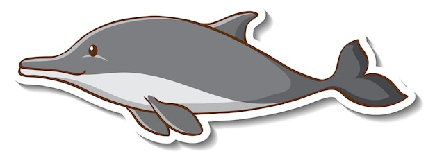 Modelo de adesivo com um personagem de desenho animado de golfinho isolado