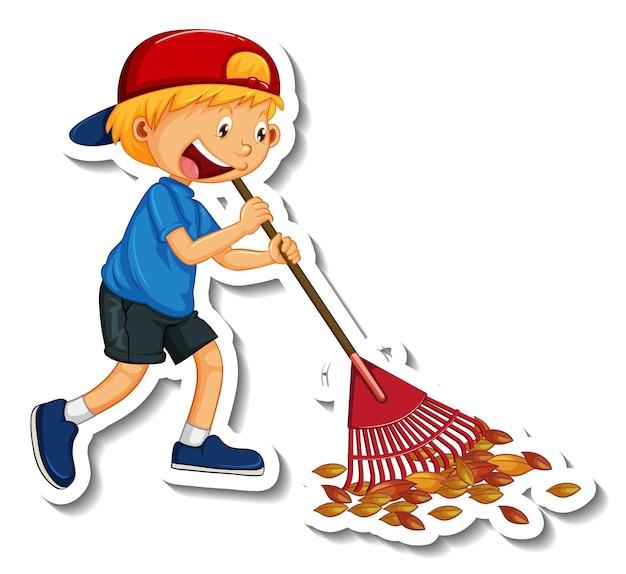 Modelo de adesivo com um personagem de desenho animado de limpeza de menino isolado