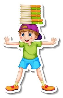 Modelo de adesivo com um personagem de desenho animado de menino feliz isolado