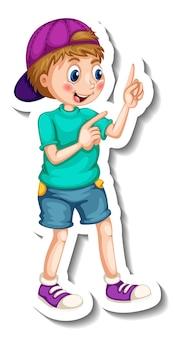 Modelo de adesivo com um personagem de desenho animado de menino isolado