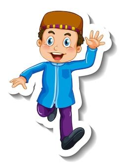 Modelo de adesivo com um personagem de desenho animado de menino muçulmano isolado