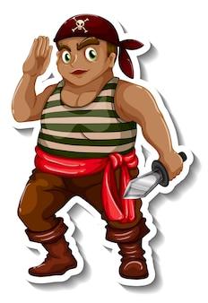 Modelo de adesivo com um personagem de desenho animado de menino pirata isolado