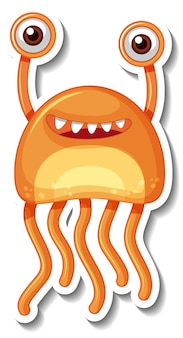 Modelo de adesivo com um personagem de desenho animado de monstro alienígena isolado