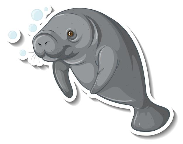 Modelo de adesivo com um personagem de desenho animado de peixe-boi isolado