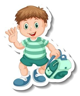 Modelo de adesivo com um personagem de desenho animado de um menino estudante isolado