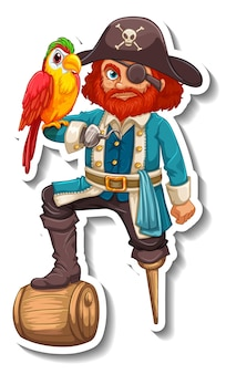Modelo de adesivo com um personagem de desenho animado do homem pirata isolado