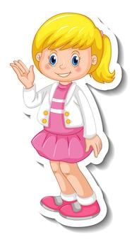 Modelo de adesivo com uma garota em pé posando de personagem de desenho animado isolado