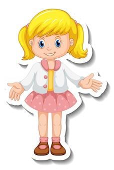 Modelo de adesivo com uma garota em pé pose personagem de desenho animado isolado