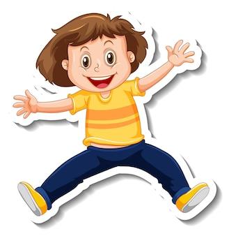 Modelo de adesivo com uma garota em pose de salto isolada