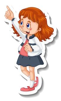 Modelo de adesivo com uma garota em pose isolada