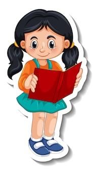 Modelo de adesivo com uma garota lendo um personagem de desenho animado isolado