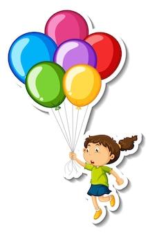 Modelo de adesivo com uma garota segurando muitos balões isolados
