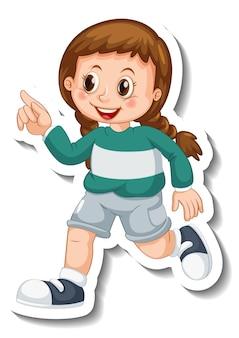 Modelo de adesivo com uma garota usando tênis personagem de desenho animado isolado