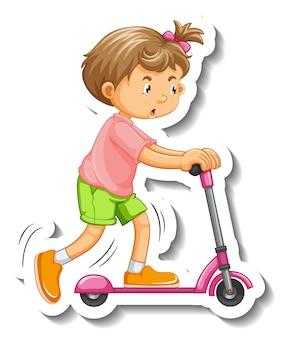 Modelo de adesivo com uma menina brincando com o personagem de desenho animado de scooter isolado