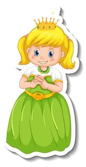 Modelo de adesivo com uma pequena personagem de desenho animado de princesa isolada