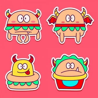 Modelo de adesivos de monstros de desenhos animados de design doodle