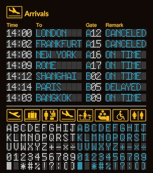 Modelo de aeroporto de placa digital led realista com alfabeto e números