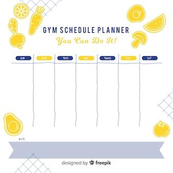 Modelo de agenda de ginástica ou treino
