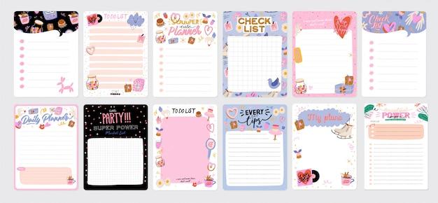 Modelo de agenda, planejadores, listas de verificação e outros artigos de papelaria infantis. .