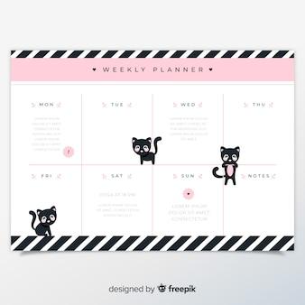 Modelo de agenda semanal com gato adorável
