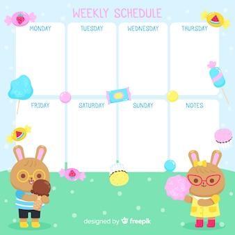 Modelo de agenda semanal desenhada mão bonito