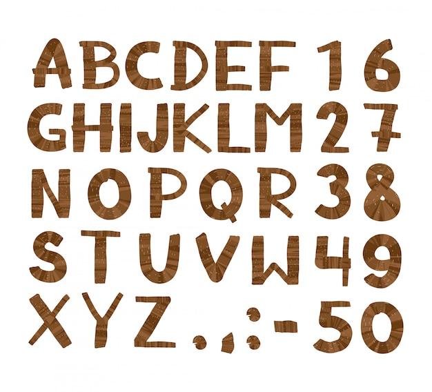 Modelo de alfabeto de árvore de madeira