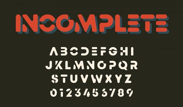 Modelo de alfabeto de design minimalista. letras e números design incompleto.