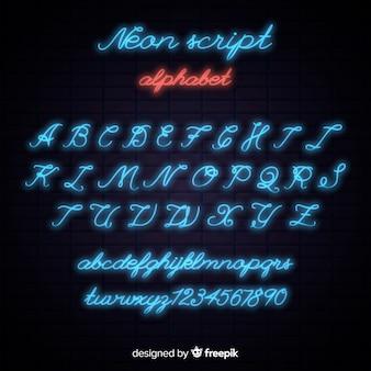 Modelo de alfabeto de néon