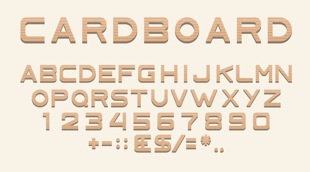 Modelo de alfabeto de papelão