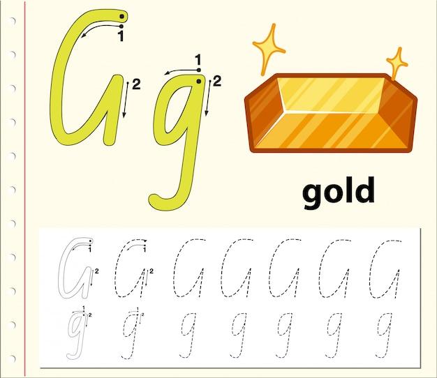 Modelo de alfabeto de rastreamento para letra g