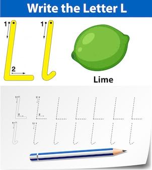 Modelo de alfabeto de rastreamento para letra l