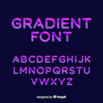 Modelo de alfabeto de tipografia gradiente