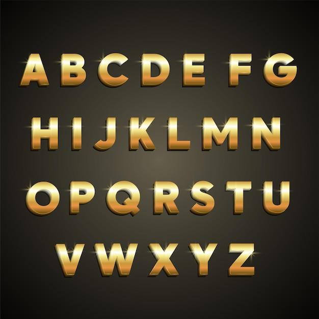 Modelo de alfabeto dourado com desenho vetorial grátis