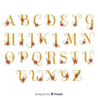 Modelo de alfabeto floral plana