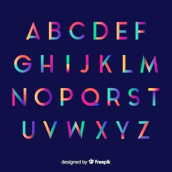 Modelo de alfabeto gradiente colorido