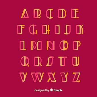 Modelo de alfabeto gradiente dourado