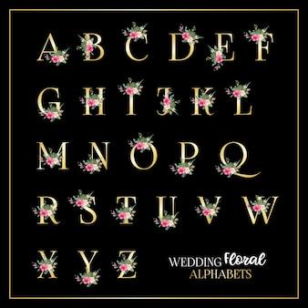 Modelo de alfabetos florais de casamento