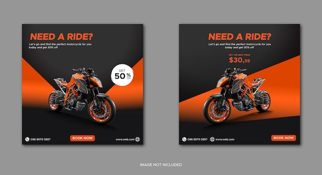 Modelo de aluguel de motocicleta em banner de mídia social