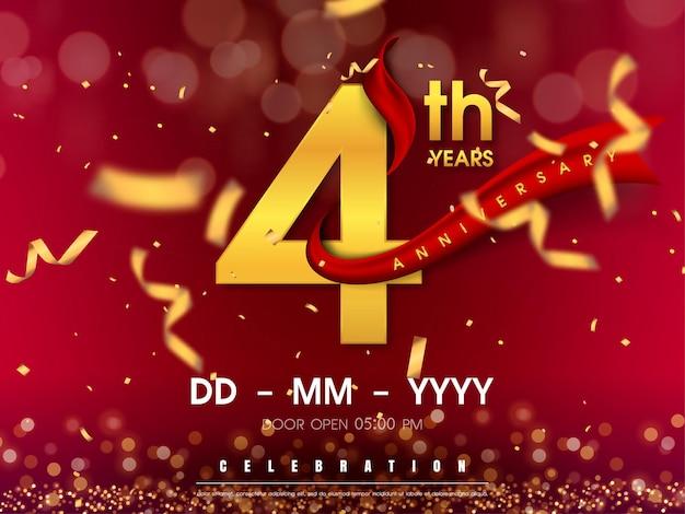 Modelo de aniversário comemorando números dourados com fita vermelha