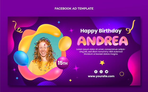 Modelo de aniversário de gradiente abstrato do facebook