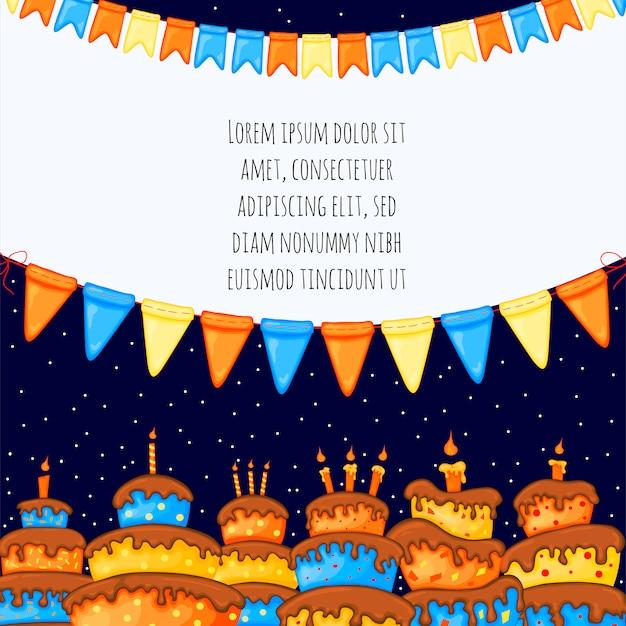 Modelo de aniversário para texto com bolos. estilo dos desenhos animados. ilustração vetorial