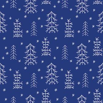 Modelo de ano novo sem costura com árvores de natal estilizadas na floresta