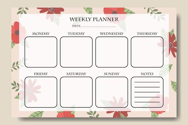 Modelo de anotações do planejador semanal de flores vintage desenhadas à mão para impressão