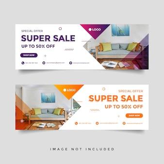 Modelo de anúncio - banner de capa de facebook de venda de móveis