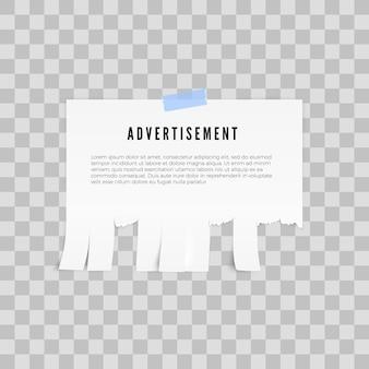 Modelo de anúncio com espaço de cópia para o texto