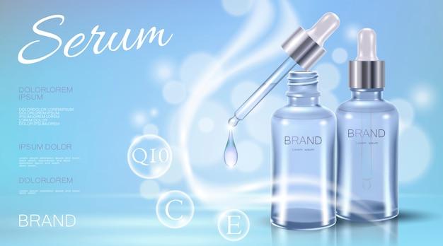 Modelo de anúncio cosmético 3d realista azul transparente